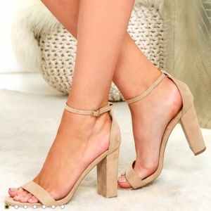 Nude Suede Ankle Strap Heels
